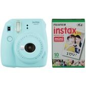 Fujifilm instax mini 9 Instant Film Camera with Instant Film Kit (Ice Blue, 10 Exposures)