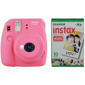 Fujifilm instax mini 9 Instant Film Camera with Instant Film Kit (Flamingo Pink, 10 Exposures)