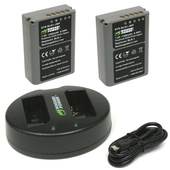 Wasabi Power Battery and Dual USB Charger for Olympus BLN-1 (2-Pack)