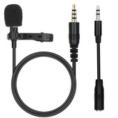 Clip On Lapel Microphone Hands Free Wired Condenser Lavalier Mic 3.5mm Smartphone + PC
