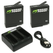 Wasabi Power Battery (2-Pack) and Triple Charger for GoPro HERO5 & HERO6