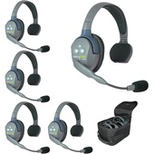 Eartec Ultralite 5 Person System with 1 Single Master and 4 Single Remote Headsets