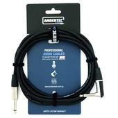Ambertec AMB0-QR2-I0-030 Guitar Cable REAN Connectors Straight/Right Angle (Black, 3m)