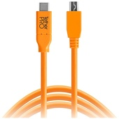 Tether Tools TetherPro USB-C to Mini-USB 2.0 Type-B 8-Pin Cable 4.6m (Orange) - Open Box Special
