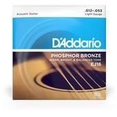 D'Addario EJ16 Phosphor Bronze Light Acoustic Strings - .012-.053 Light Gauge
