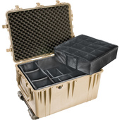 Pelican 1660 Case - With Padded Divider Set (Desert Tan)