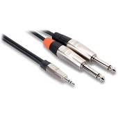 "Hosa HMP-010Y REAN 3.5mm TRS to Dual 1/4"" TS Pro Stereo Breakout Cable - 10'"