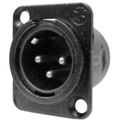 Neutrik NC3MDLB1 Three-Pin Male Chassis-Mount XLR Connector- Black