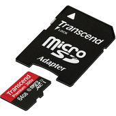 Transcend 64GB microSDXC Memory Card Premium 400x Class 10 UHS-I with microSD Adapter