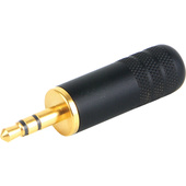 "Switchcraft 3.5mm (1/8"" Mini) Stereo Plug (Black Handle, Gold Finger)"
