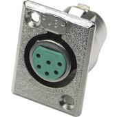 Switchcraft D Series 6-Pin XLR Female (Nickel Finish, Silver Pins)