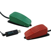 X-keys USB 3 Switch Interface with Red and Green Commercial Foot Switch