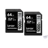 Lexar 64GB Professional 1000x UHS-II SDXC Memory Card (2-Pack, Class 10, UHS Speed Class 3)