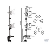 """Brateck LCD-LDT02-C02V Dual Vertical 13-27"""" LCD Table Stand"""