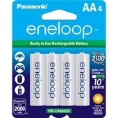 Panasonic Eneloop AA Rechargeable Ni-MH Batteries (2000mAh, Pack of 4)