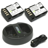 Wasabi Power Battery and Dual USB Charger for Panasonic DMW-BLF19 (2-Pack)
