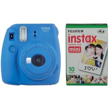 Fujifilm instax mini 9 Instant Film Camera with Instant Film Kit (Cobalt Blue, 10 Exposures)