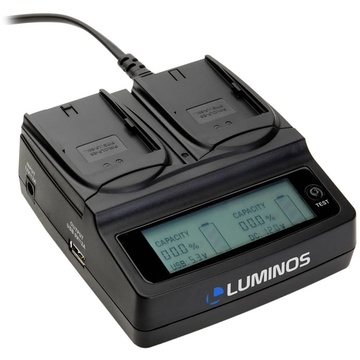 Luminos Dual LCD Fast Charger with Battery Plates for D-Li68, D-Li122, NP-50, NP-50A, or KLIC-7004