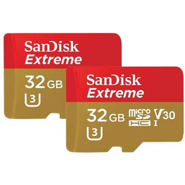 SanDisk 32GB Extreme UHS-I microSDHC Memory Card (2-Pack)