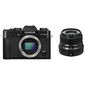 Fujifilm X-T20 Mirrorless Digital Camera (Black) with XF 23mm f/2 R WR Lens (Black)