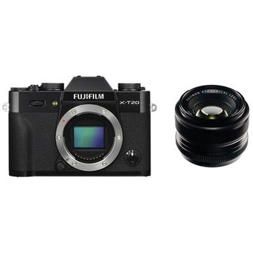 Fujifilm X-T20 Mirrorless Digital Camera (Black) with XF 35mm f/1.4 R Lens