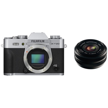 Fujifilm X-T20 Mirrorless Digital Camera (Silver) with XF 18mm f/2.0 R Lens