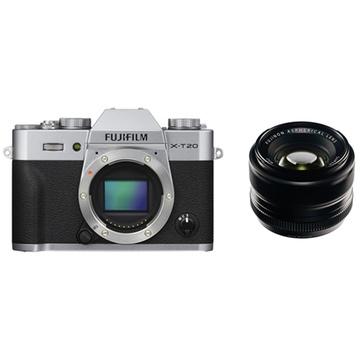 Fujifilm X-T20 Mirrorless Digital Camera (Silver) with XF 35mm f/1.4 R Lens