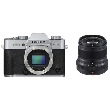 Fujifilm X-T20 Mirrorless Digital Camera (Silver) with XF 50mm f/2 R WR (Black)