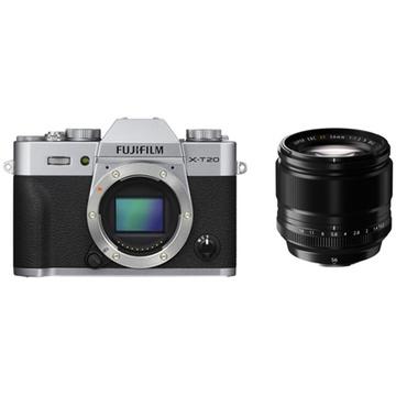 Fujifilm X-T20 Mirrorless Digital Camera (Silver) with XF 56mm f/1.2 R Lens