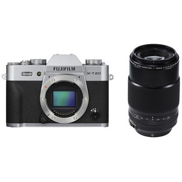 Fujifilm X-T20 Mirrorless Digital Camera (Silver) with XF 80mm f/2.8 R LM OIS WR Macro Lens