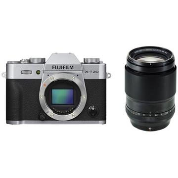 Fujifilm X-T20 Mirrorless Digital Camera (Silver) with XF 90mm f/2 R LM WR Lens