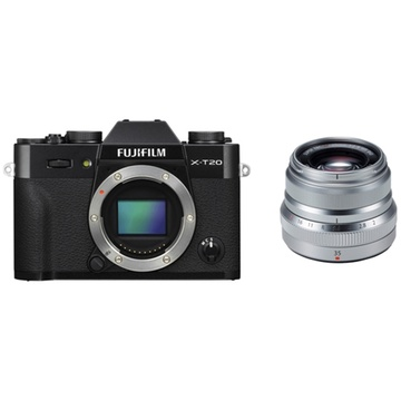 Fujifilm X-T20 Mirrorless Digital Camera (Black) with XF 35mm f/2 R WR Lens (Silver)