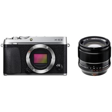 Fujifilm X-E3 Mirrorless Digital Camera (Silver) with XF 56mm f/1.2 R APD Lens