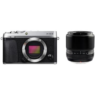 Fujifilm X-E3 Mirrorless Digital Camera (Silver) with XF 60mm f/2.4 Macro Lens