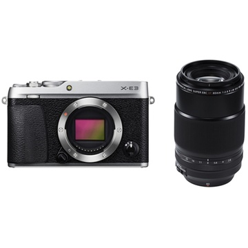 Fujifilm X-E3 Mirrorless Digital Camera (Silver) with XF 80mm f/2.8 R LM OIS WR Macro Lens