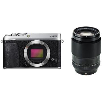 Fujifilm X-E3 Mirrorless Digital Camera (Silver) with XF 90mm f/2 R LM WR Lens