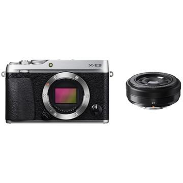 Fujifilm X-E3 Mirrorless Digital Camera (Silver) with XF 27mm f/2.8 Lens (Black)