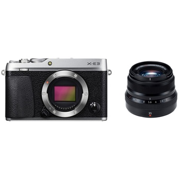 Fujifilm X-E3 Mirrorless Digital Camera (Silver) with XF 35mm f/2 R WR Lens (Black)