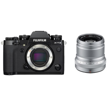 Fujifilm X-T3 Mirrorless Digital Camera (Black) with XF 50mm f/2 R WR Lens (Silver)