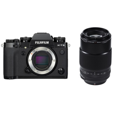 Fujifilm X-T3 Mirrorless Digital Camera (Black) with XF 80mm f/2.8 R LM OIS WR Macro Lens