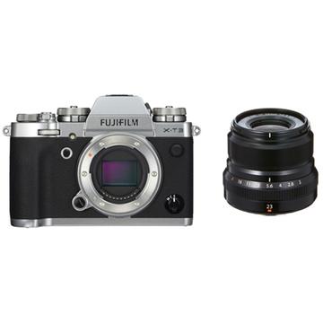 Fujifilm X-T3 Mirrorless Digital Camera (Silver) with XF 23mm f/2 R WR Lens (Black)