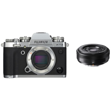 Fujifilm X-T3 Mirrorless Digital Camera (Silver) with XF 27mm f/2.8 Lens (Black)