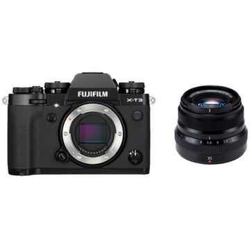 Fujifilm X-T3 Mirrorless Digital Camera (Black) with XF 35mm f/2 R WR Lens (Black)
