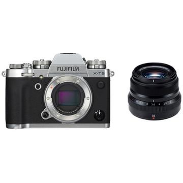 Fujifilm X-T3 Mirrorless Digital Camera (Silver) with XF 35mm f/2 R WR Lens (Black)