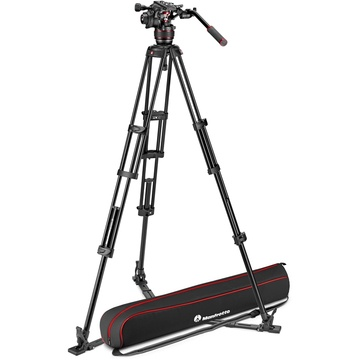 Manfrotto Nitrotech 608 Fluid Video Head and Aluminum Twin Leg Tripod with Ground Spreader