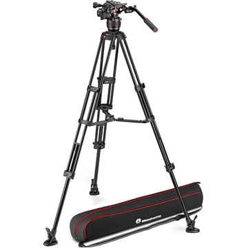 Manfrotto Nitrotech 608 Fluid Video Head and Aluminum Twin Leg Tripod with Middle Spreader