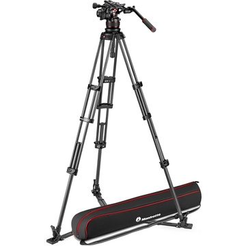 Manfrotto Nitrotech 612 Fluid Video Head and Carbon Fiber Twin Leg Tripod with Ground Spreader