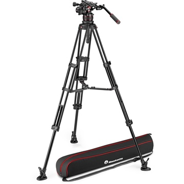 Manfrotto Nitrotech 612 Fluid Video Head and Aluminum Twin Leg Tripod with Middle Spreader