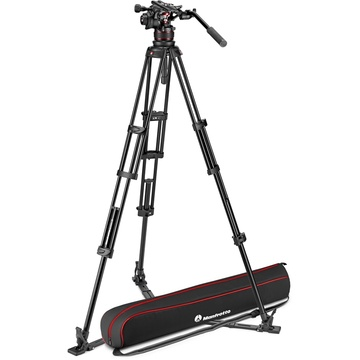 Manfrotto Nitrotech 612 Fluid Video Head and Aluminum Twin Leg Tripod with Ground Spreader