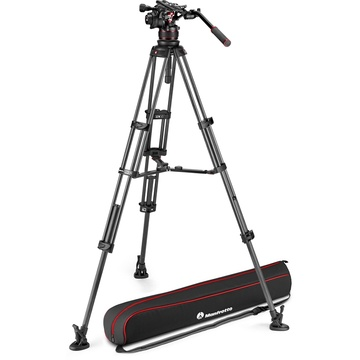 Manfrotto Nitrotech 612 Fluid Video Head and Carbon Fiber Twin Leg Tripod with Middle Spreader